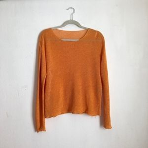Eileen fisher blouse sz:L orange linen top sheer